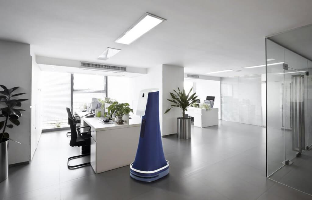 cobalt robot in office