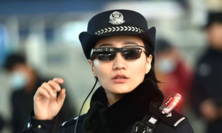 China facial recognition smart glasses police officers surveillance