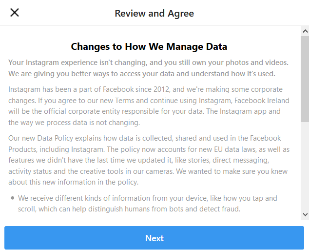 instagram new data policy new privacy policy