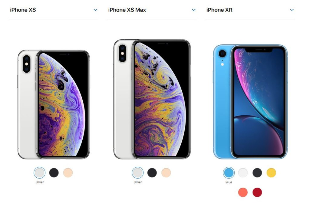 apple iphone xs iphone xr iphone xs max