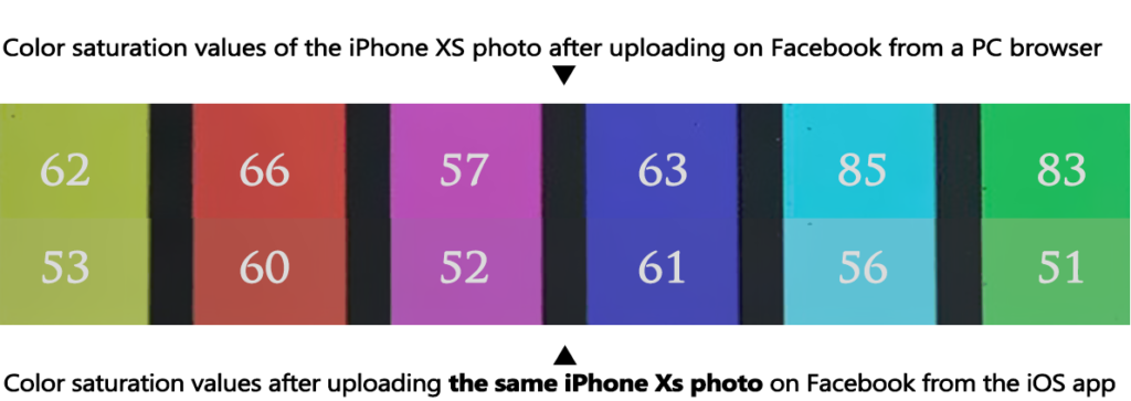 iPhone XS iPhone X color test chart