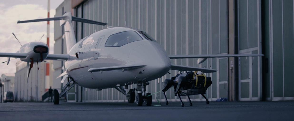 robot dog pulls passenger airplane