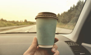 coffee cup in car