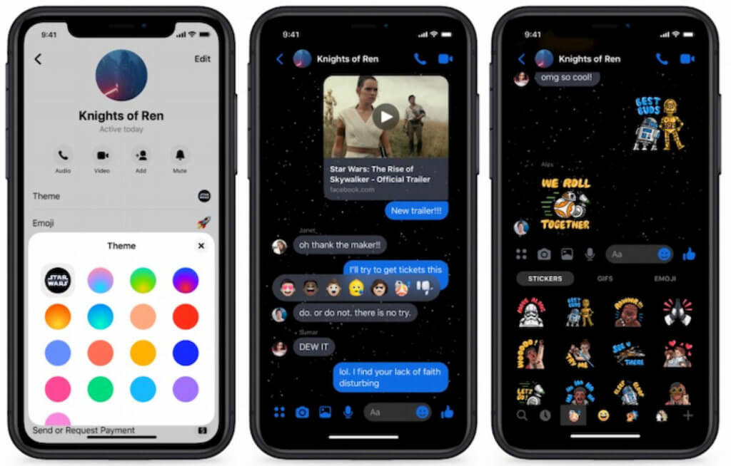 rise of the skywalker facebook messenger theme star wars