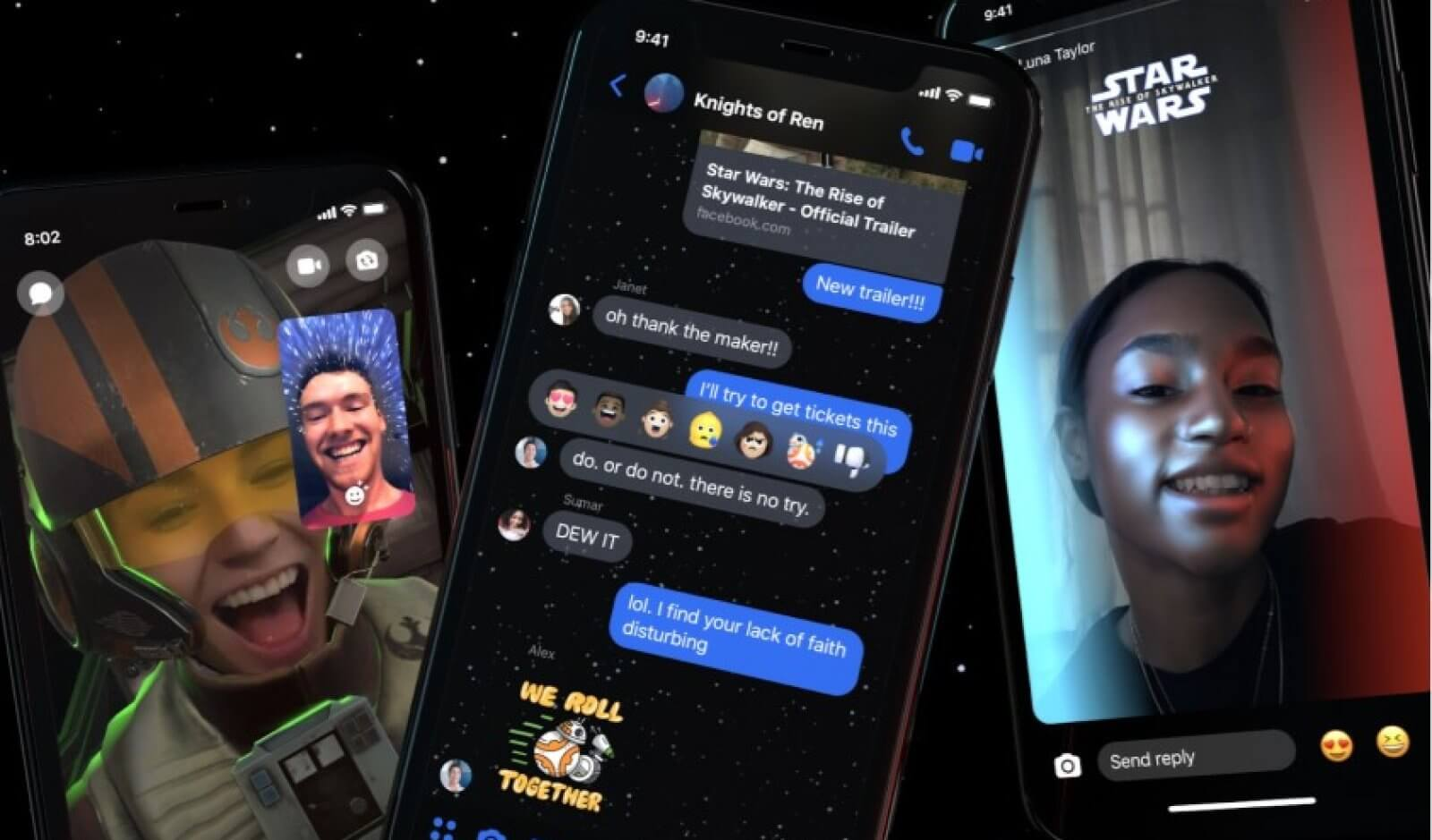 star wars rise of the skywalker messenger theme facebook