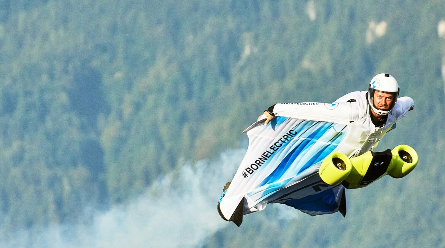 bmw first electrified wingsuit brian salzmann