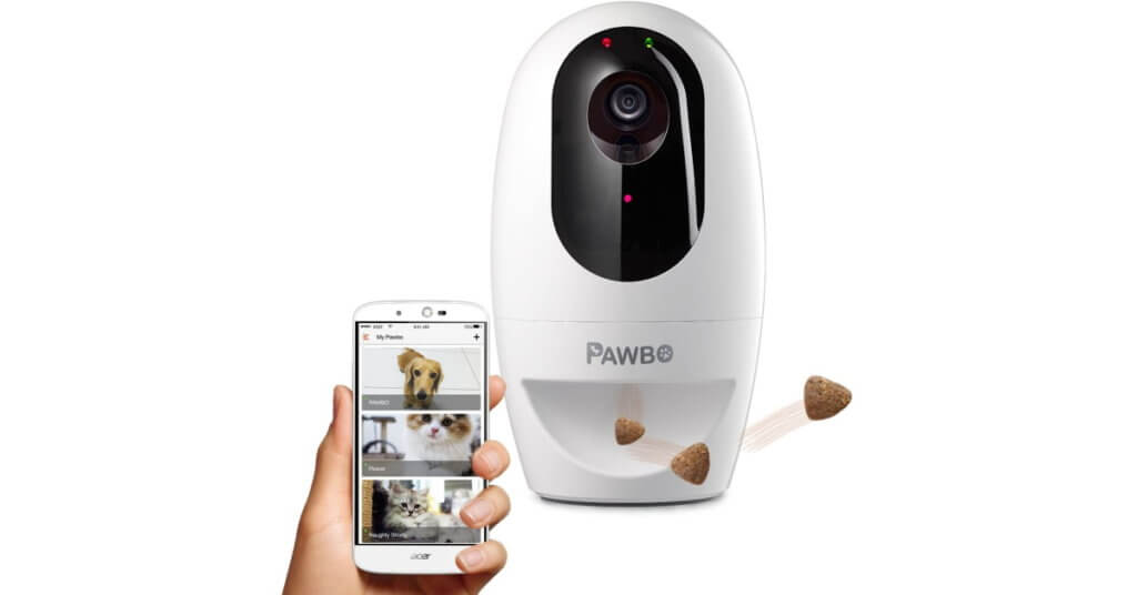 pawbo pet camera with treat dispenser and laser toy