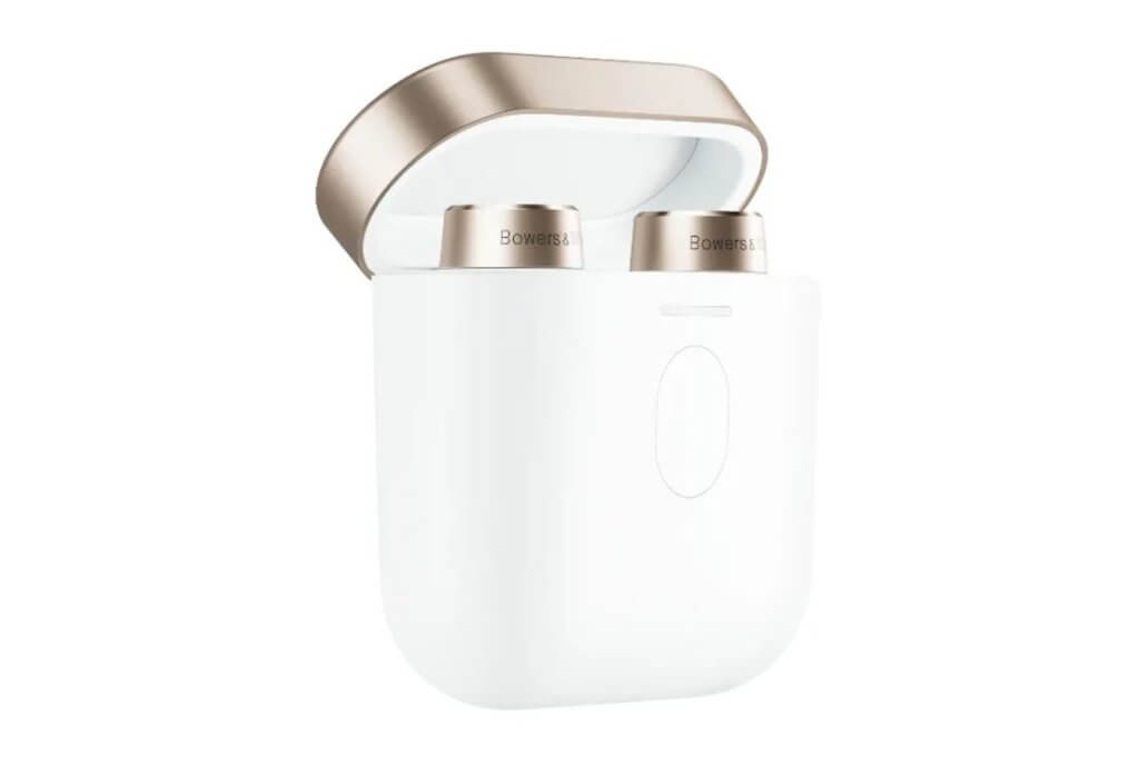 Bowers & Wilkins PI7 Wireless Earbuds case in White and Gold