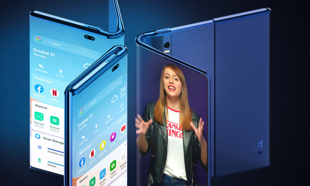 tcl foldable rollable phone