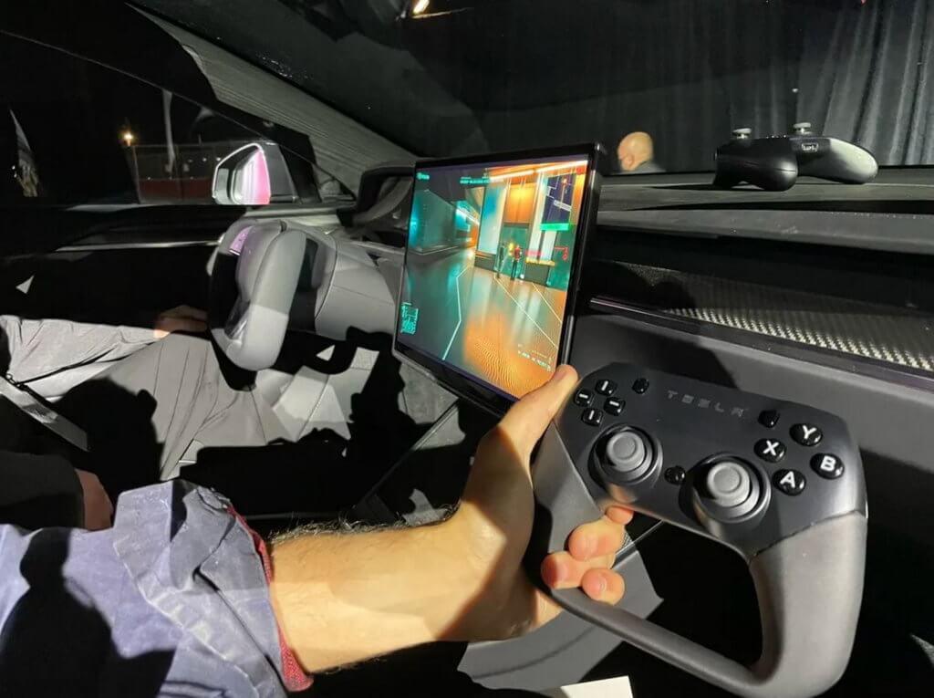 Tesla game controller running Cyberpunk 2077