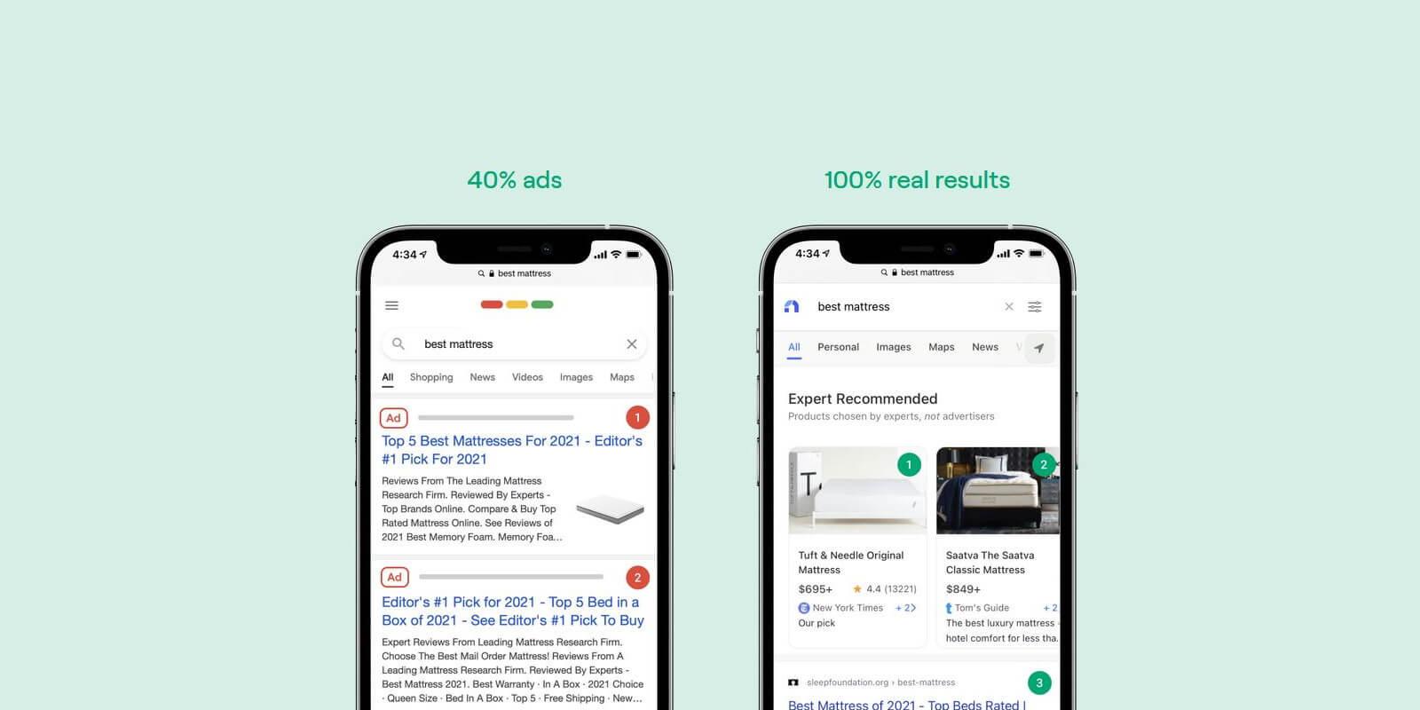 neeva search results ads
