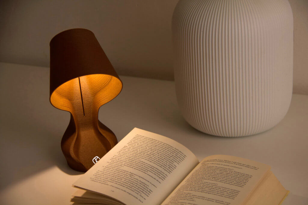 Ohmie 3D-printed lamp made out of orange peels