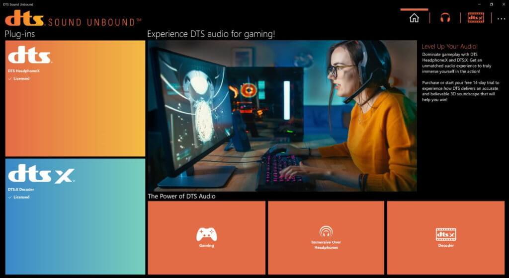 DTS Sound Unbound screenshot on Gigabyte Aero 15