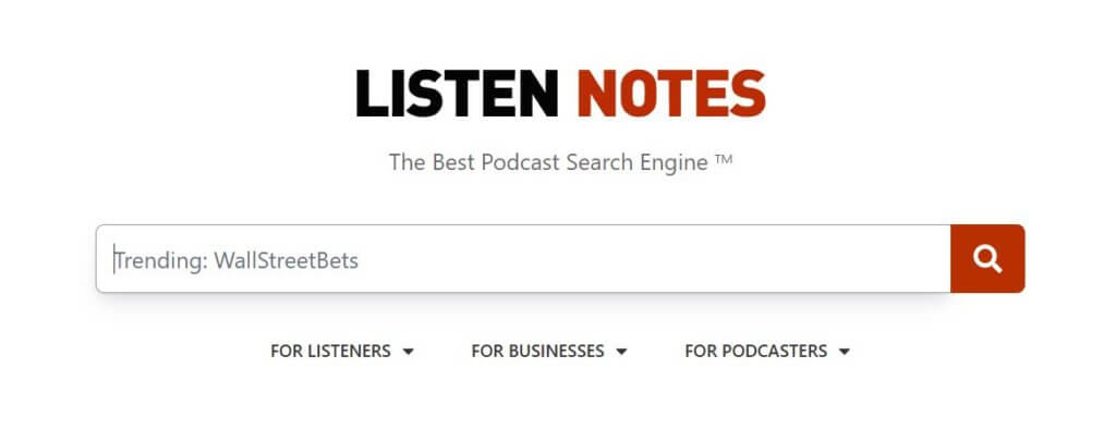 listennotes search engine for podcasts